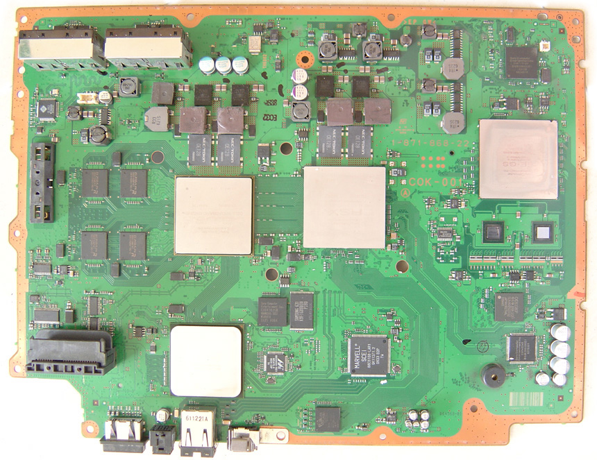 Motherboard of a 60Gb Ps3, notice the EE+GS on the far right.